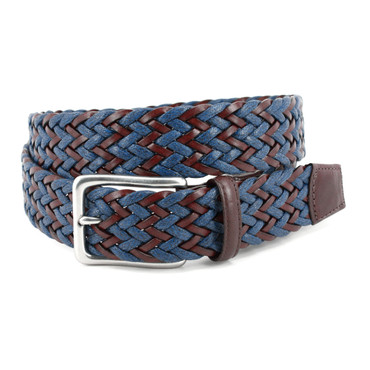 Navy/Brown Chevron Weave of Genuine Italian Leather and Linen casual belt