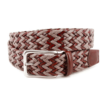 Brown/Taupe Chevron Braided Italian Leather & Linen Casual Belt