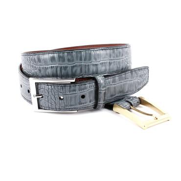 Grey Alligator Grain Embossed Calfskin Dress Belt