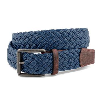 Navy Italian Woven Waxed Cotton Belt with waxhide tabs