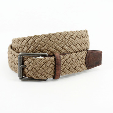 Camel Italian Woven Waxed Cotton Belt with Harness Leather Tabs