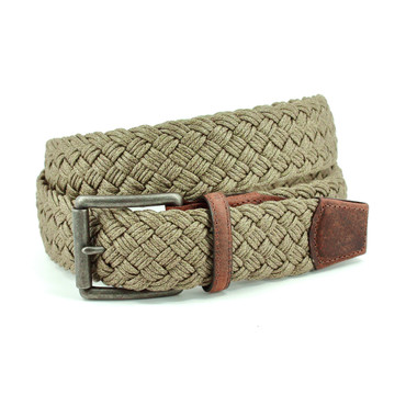 Olive Italian Woven Waxed Cotton Belt with waxed harness leather tabs