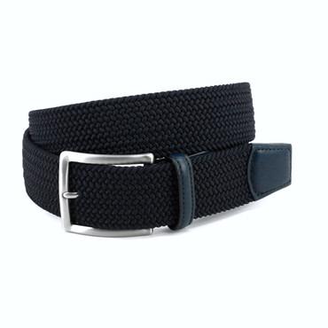 Navy Italian Braided Stretch Rayon Elastic belt