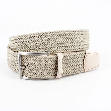 Light Khaki Italian Braided Stretch Rayon Elastic Belt