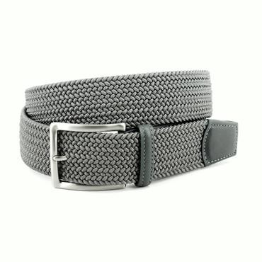 Grey Italian Braided Stretch Rayon Elastic Belt