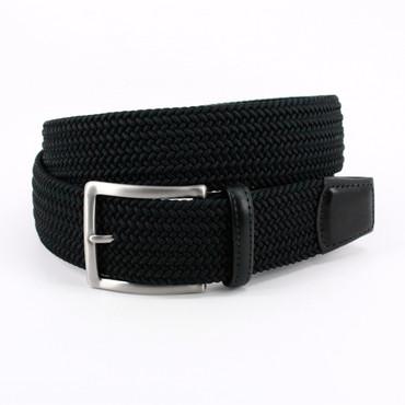 Black Braided Italian Stretch Rayon Elastic Belt