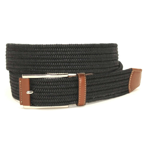 Italian Mini Woven Cotton Stretch Belt - Black