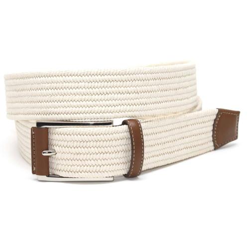 Cream Italian Mini Woven Cotton Stretch Belt