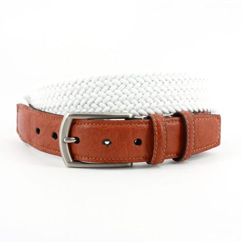 Italian Woven Cotton Elastic Belt - White