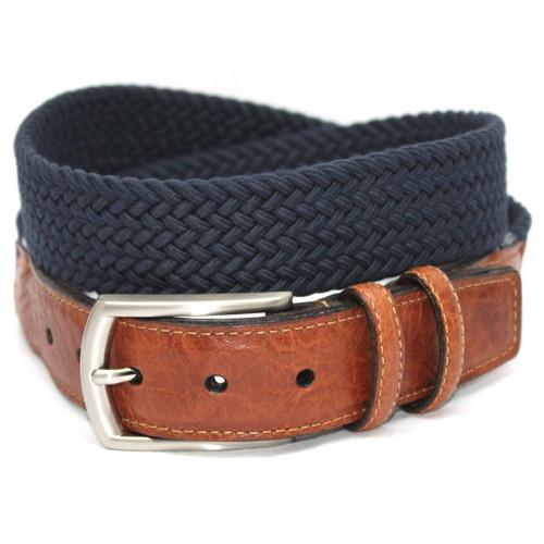 XLONG-Italian Woven Cotton Elastic Belt - Navy