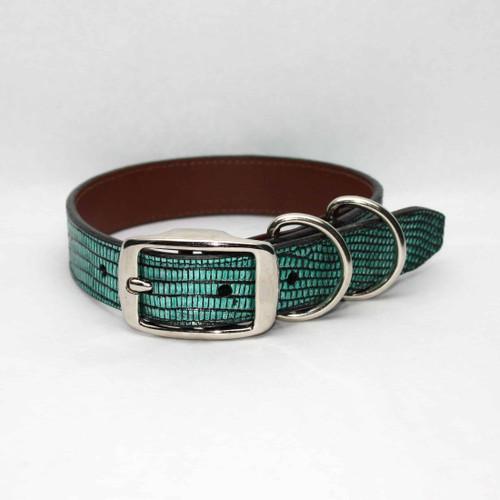 Metallic Lizard Dog Collar - Teal