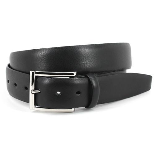Black Italian Glazed Milled Calfskin Belt