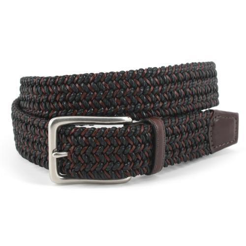 Italian Woven Cotton & Leather Belt - Black/Brown