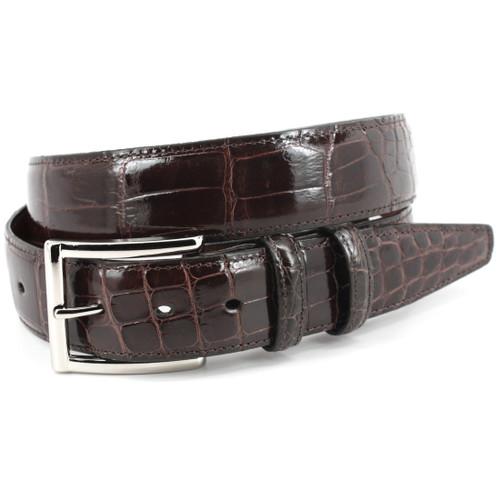 Genuine American Alligator Belt - Brown