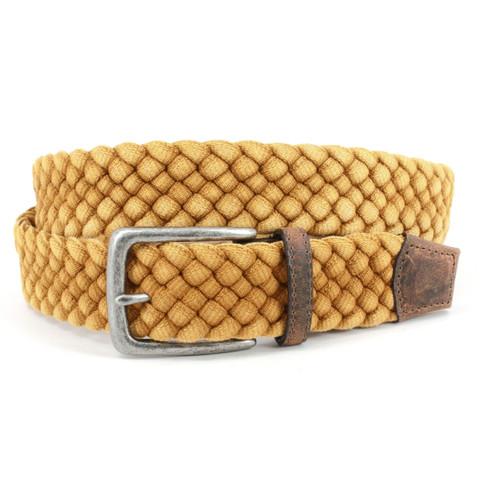 Italian Woven Distressed Cotton Belt in Yellow
