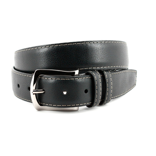 Italian Soft Calfskin Belt with Contrast Stitching in Black