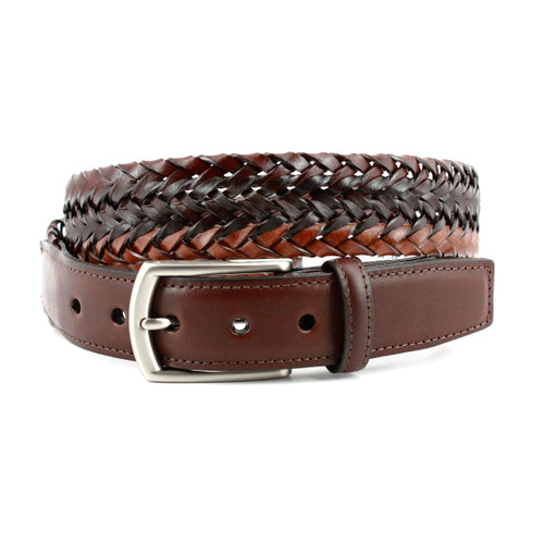 Italian Tri-Color Woven Leather Belt in Mahogany, Brown and Cognac