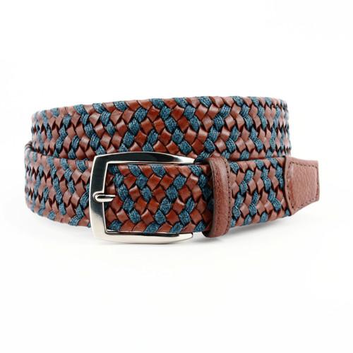 Italian Braided Leather & Linen Belt - Cognac/Navy