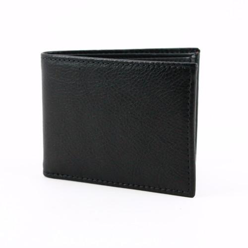 Italian Glazed Milled Calfskin Leather Billfold Wallet in Black