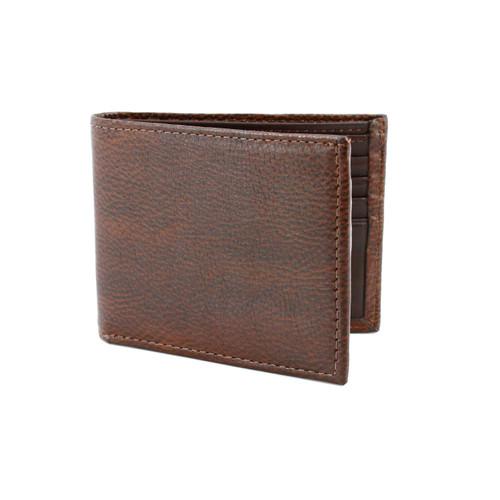 Italian Glazed Milled Calfskin Leather Billfold Wallet in Brown