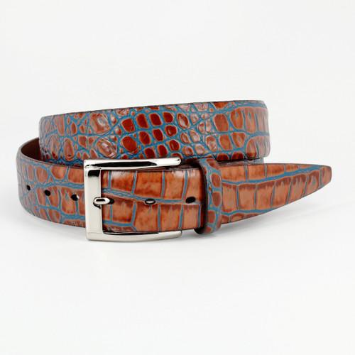 Bi- Color Crocodile Embossed Calfskin Belt - Tan / Blue