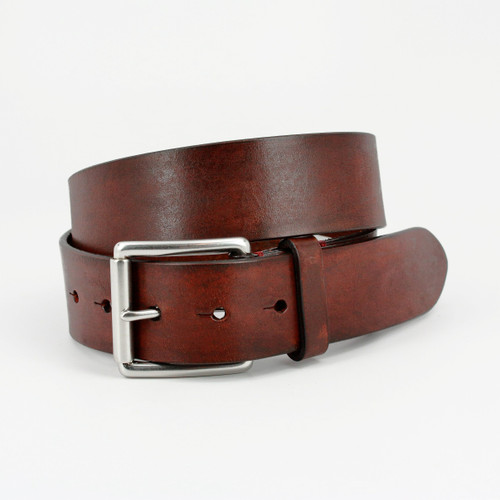 Hand Burnished Bridle Leather Belt in Brown
