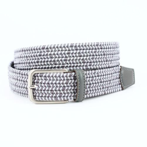 Grey Woven Italian Rayon Elastic Stretch. Italian Calfskin Leather Tabs & Loop. Italian Satin Nickel Finished Buckle. Made in USA