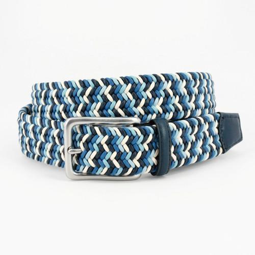 Italian Woven Cotton Belt - Navy/Blue/Cream