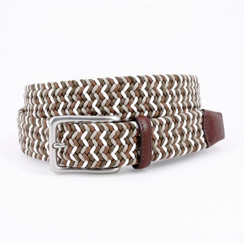 Italian Woven Cotton Belt - Olive/Brown/White