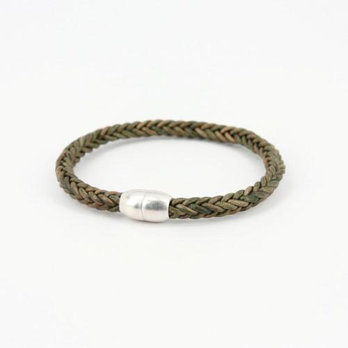 Antiqued Plaited Leather Modo Bracelet - Olive