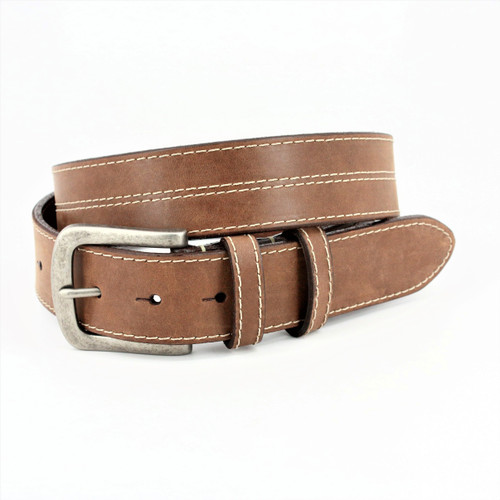 Waxed Harness Leather Belt - Taupe