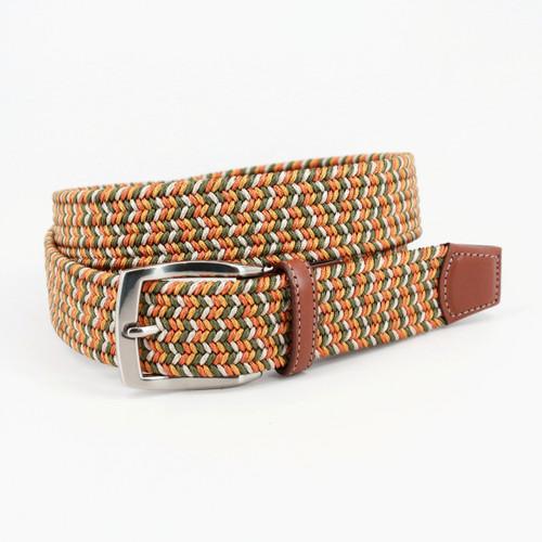 Italian Braided Elastic Rayon Stretch Belt - Loden/Gold/Sand