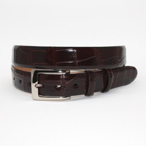 Unstitched Genuine American Alligator Belt - Brown
