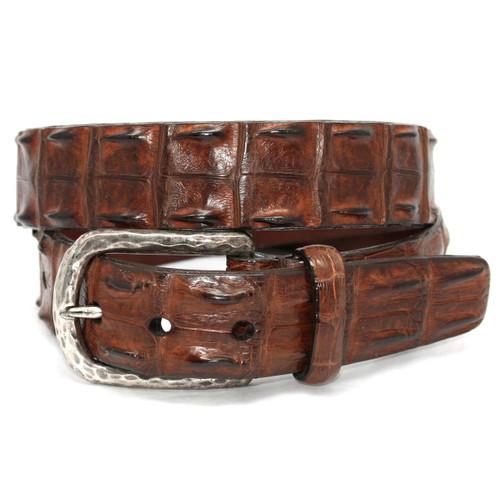 Cognac Genuine Hornback Crocodile Belt