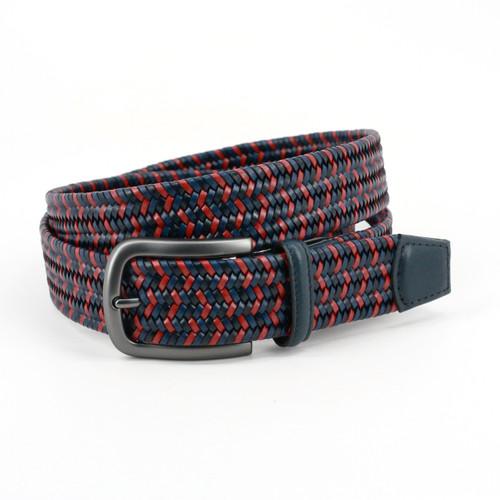Navy & Red Multi Mini Strand Italian Woven leather belt