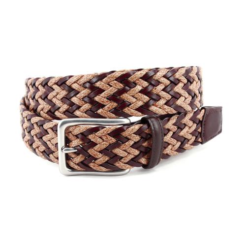 Brown/Maize Chevron Braided Italian Leather & Linen Casual Belt