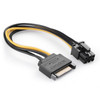SATA 8-Inch 15-Pin to 6-Pin PCI Express Card Power Cable