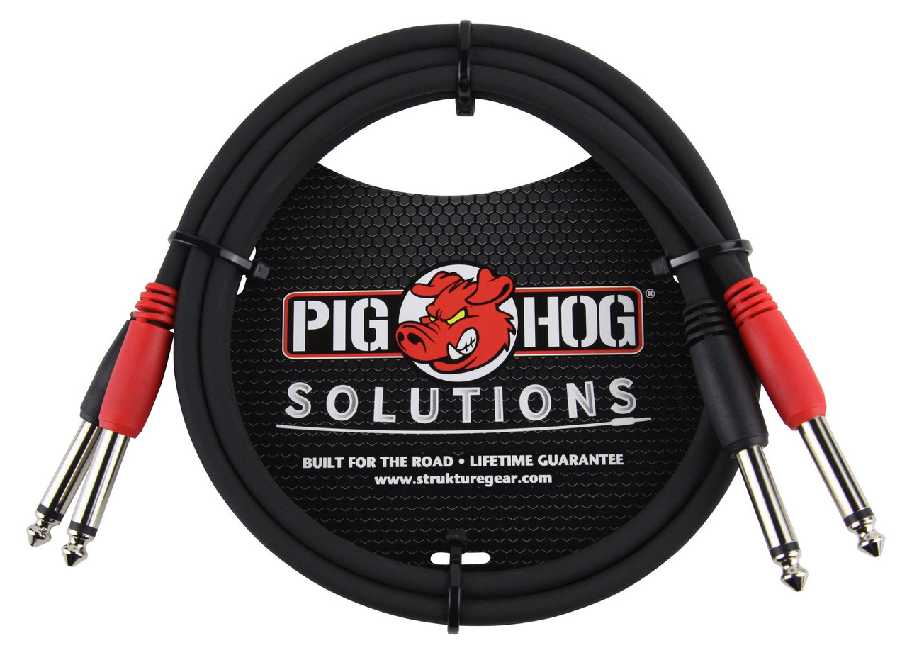 """Pig Hog PD-21403 3ft 1/4"""" TS Mono Male to Male Dual Cable"""