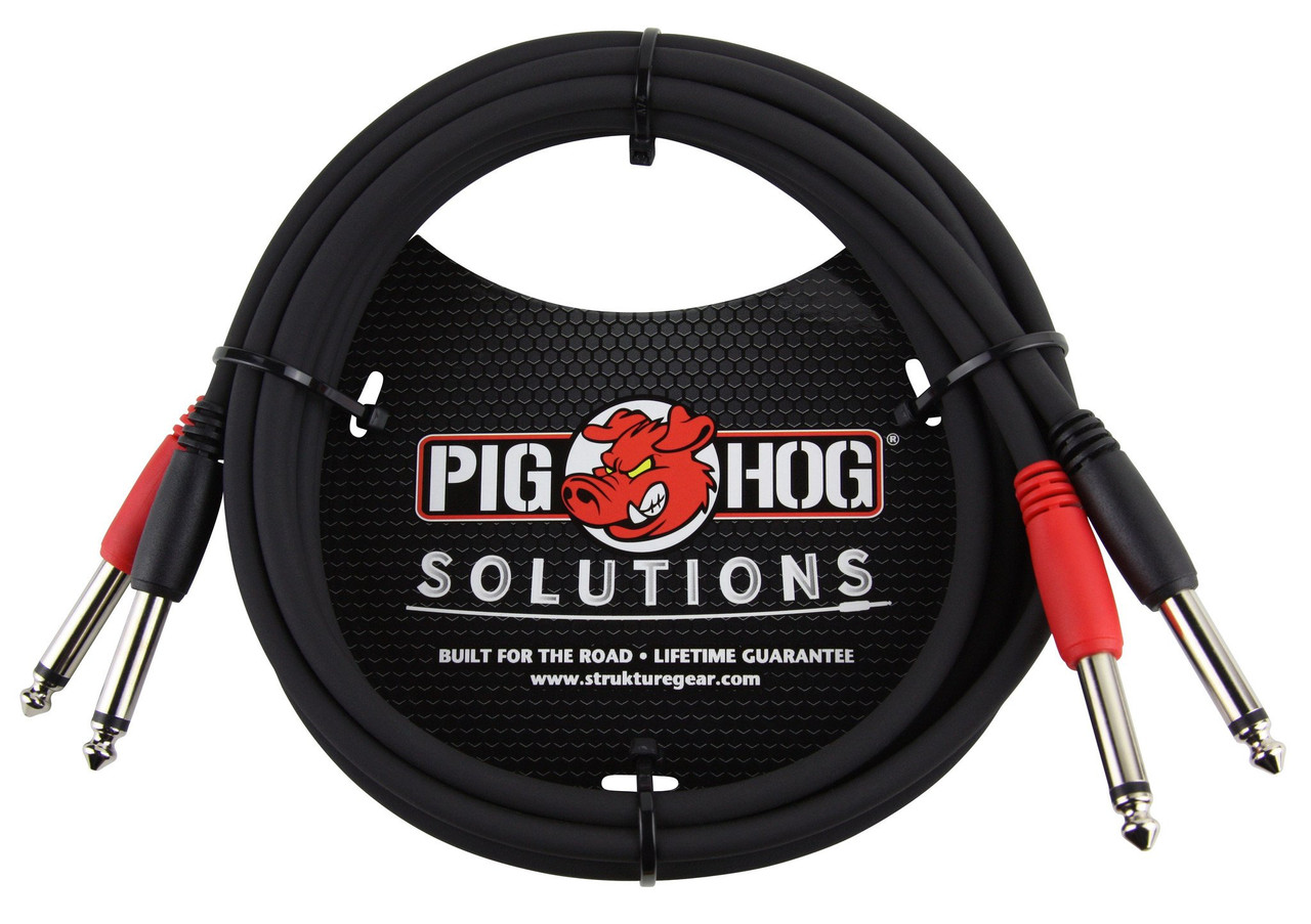 """Pig Hog PD-21406 6ft 1/4"""" TS Mono Male to Male Dual Cable"""