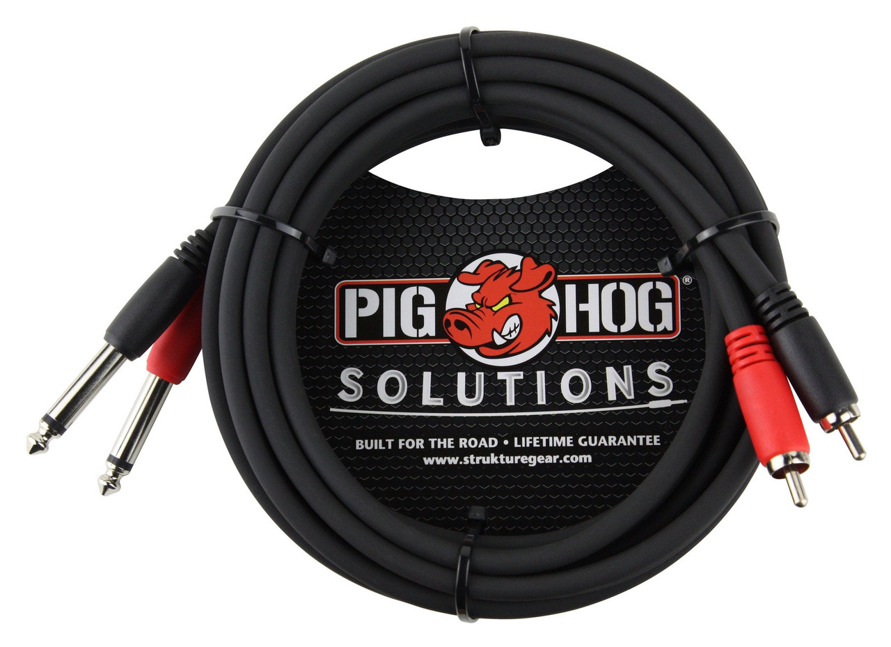 """Pig Hog Cables PD-R1410  10ft RCA to 1/4"""" Dual Cable"""