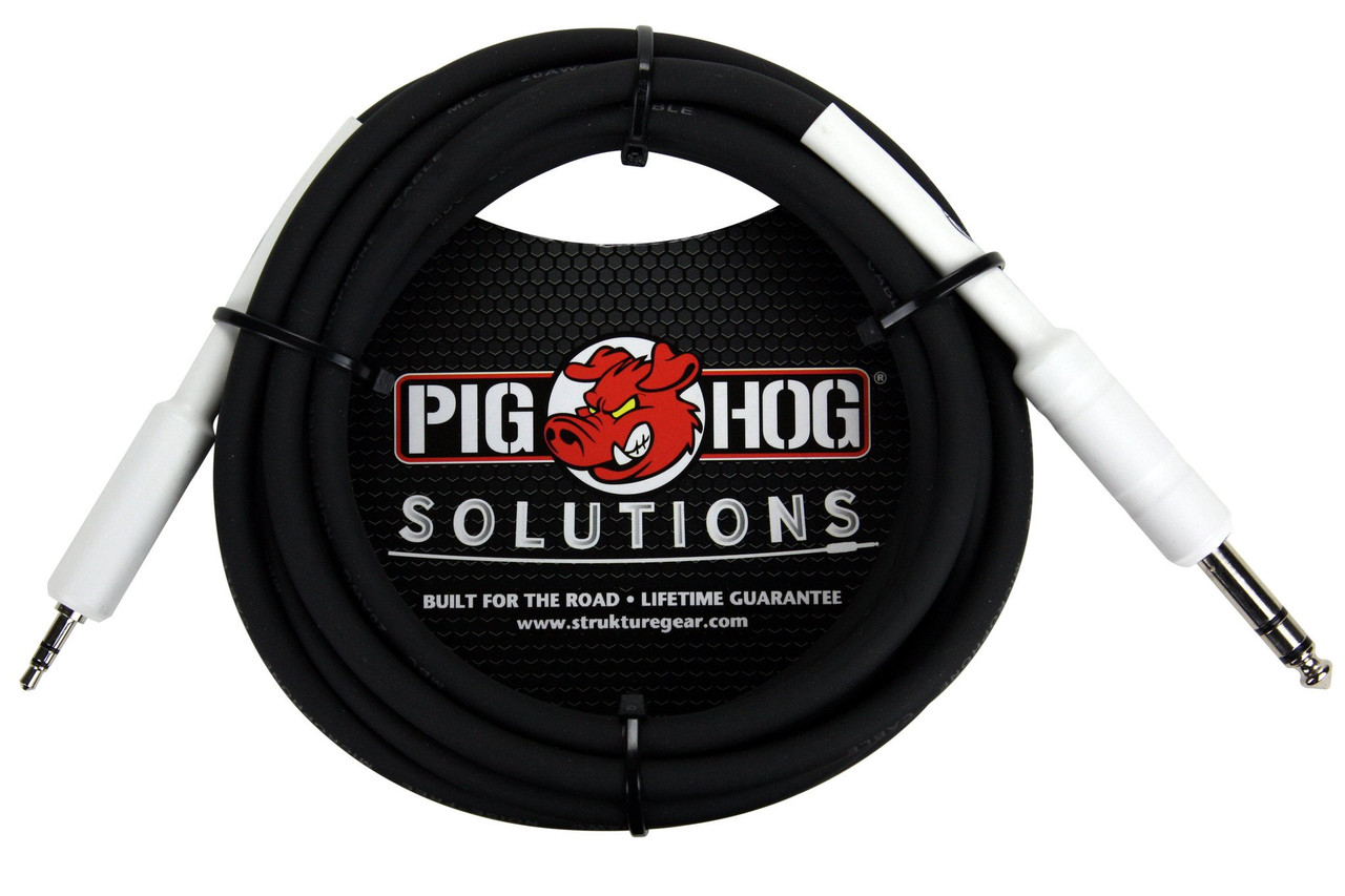 """Pig Hog Cable -  1/4"""" TRS to 1/8"""" mini, 10ft"""