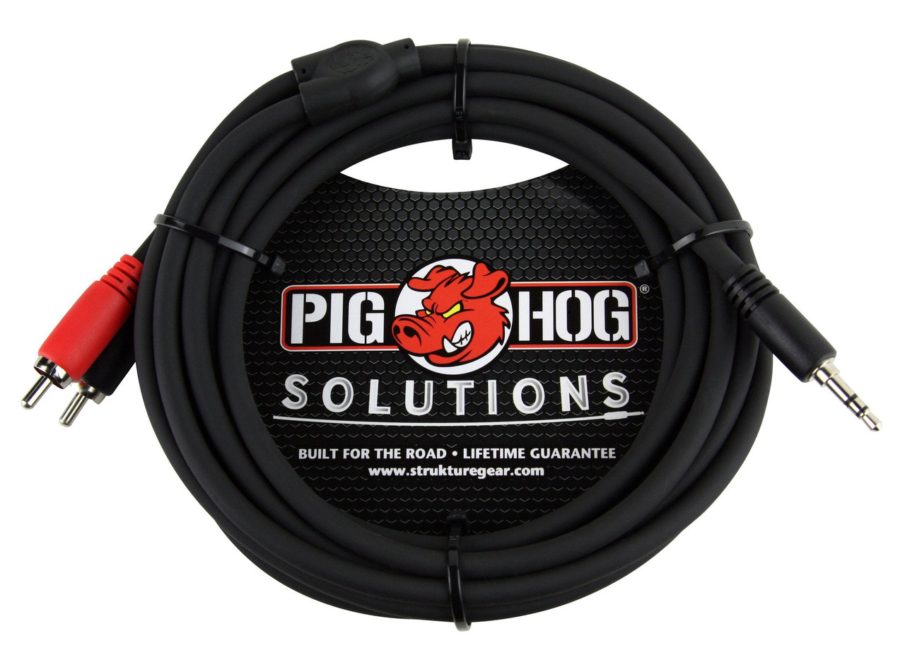 Pig Hog PB-S3R10 10ft TRS Stereo 3.5mm Male to Dual RCA Male