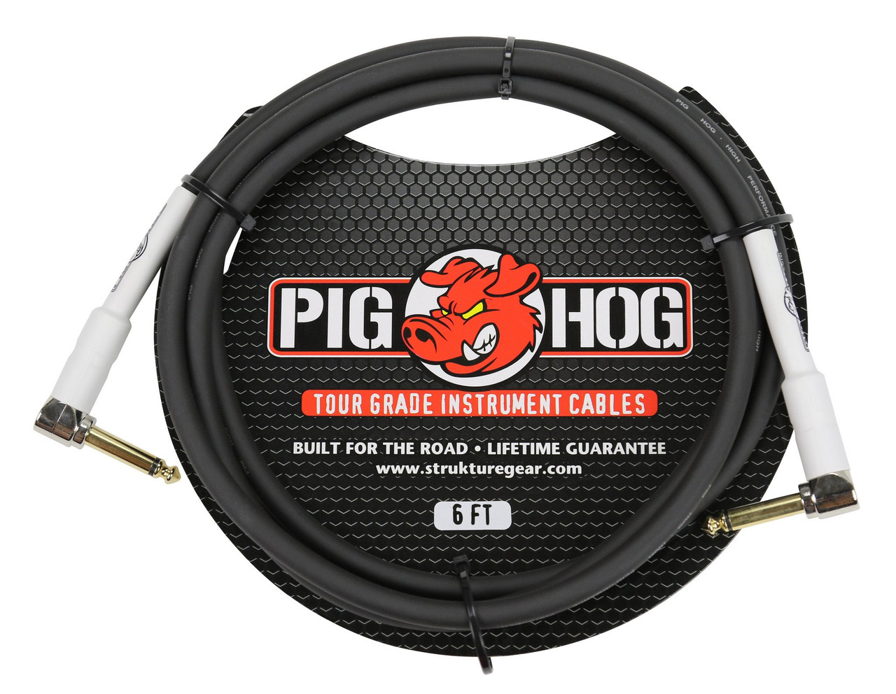 """Pig Hog PH6RR  6ft  1/4"""" TS Mono Right Angle Male to Male Cable"""