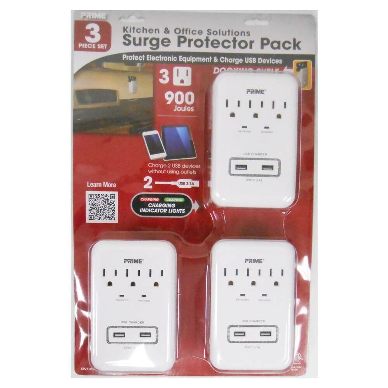 3 -Pack 3-Outlet Surge Protector with 2 USB Ports 3.1A 900J Protection