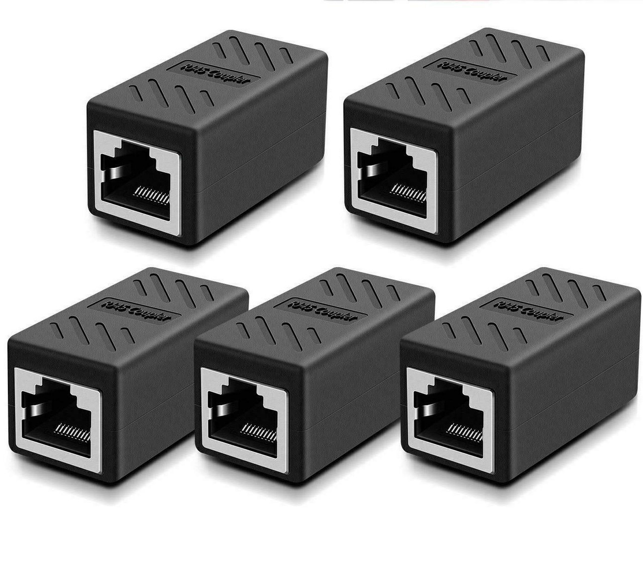 5-Pack RJ45 Inline Coupler Cat7 Cat6 Cat5e Ethernet LAN Network Cable Adapter