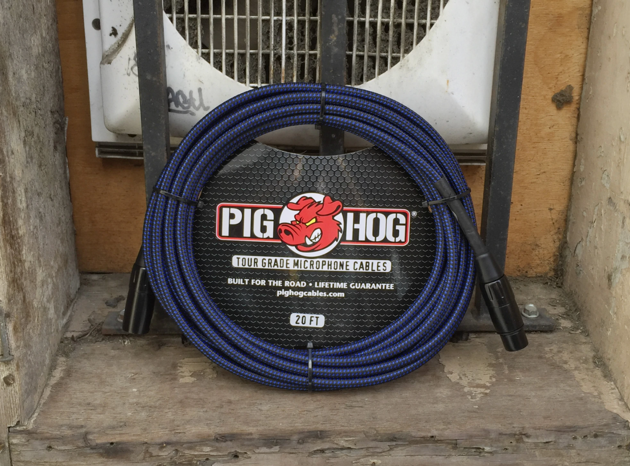 Pig Hog PHM20BBL Black/Blue Woven High Performance XLR Microphone Cable, 20 Ft