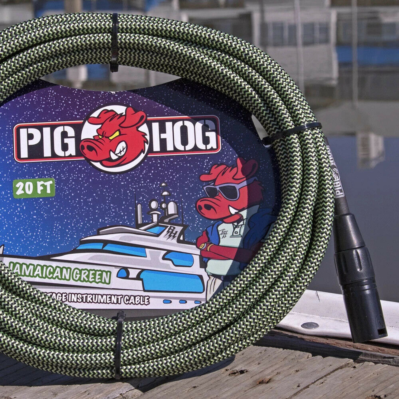 Pig Hog PHM20JGR Green Woven High Performance XLR Microphone Cable, 20 Ft