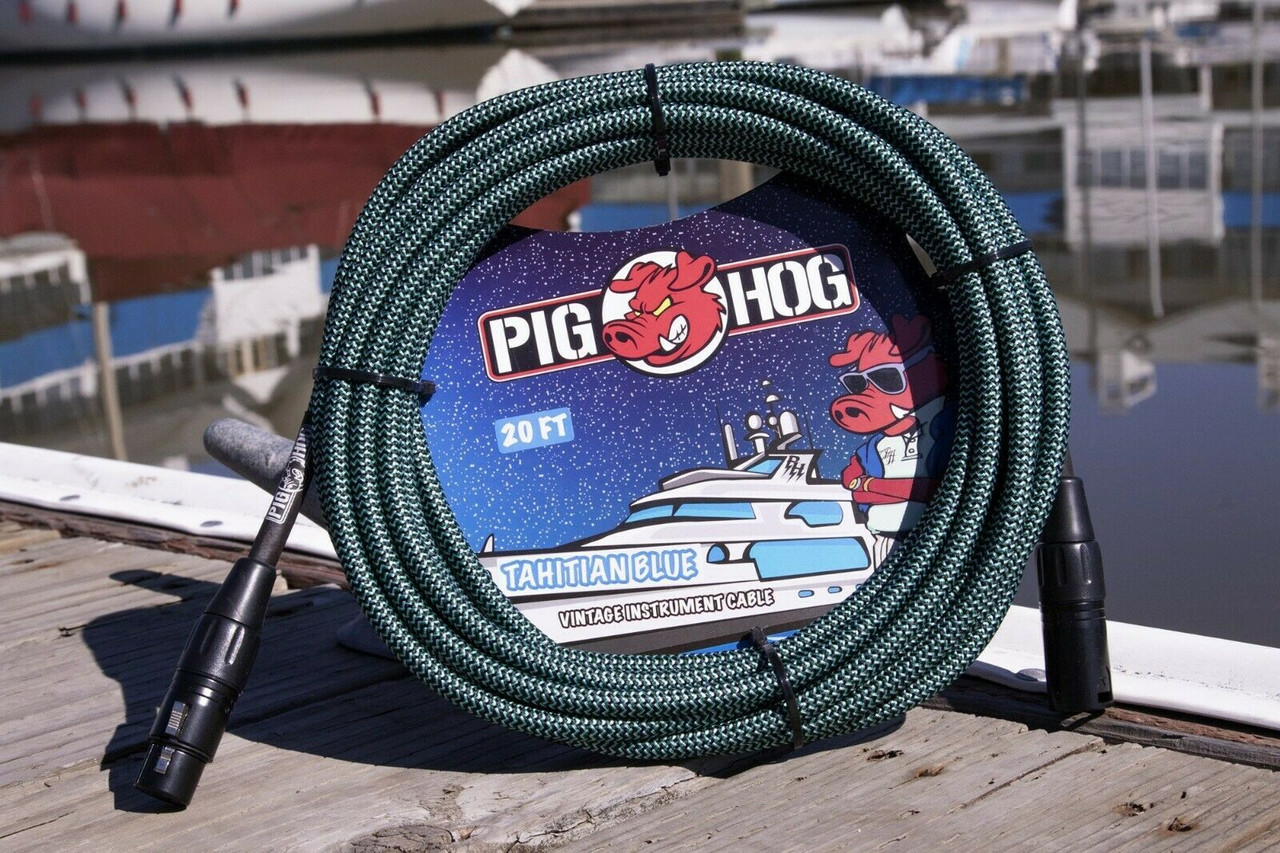 Pig Hog PHM20TAB Blue Woven High Performance XLR Microphone Cable, 20 Ft