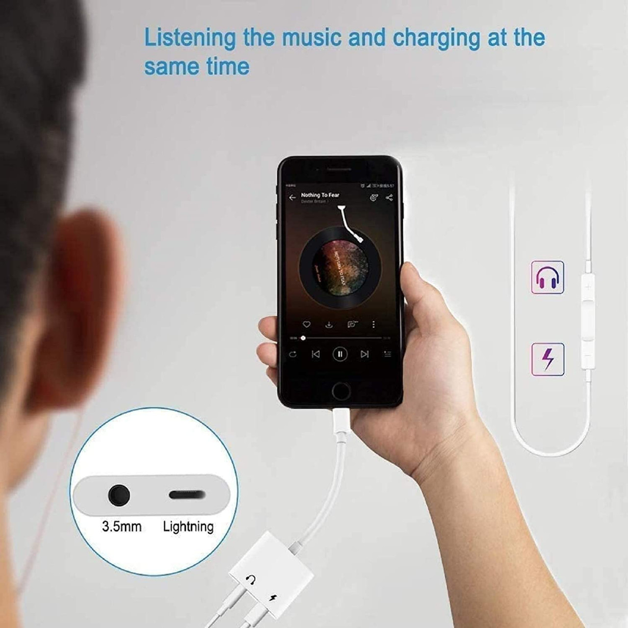 Headphone Adapter for iPhone, 2 in 1 Lightning to 3.5mm AUX Audio + Charger
