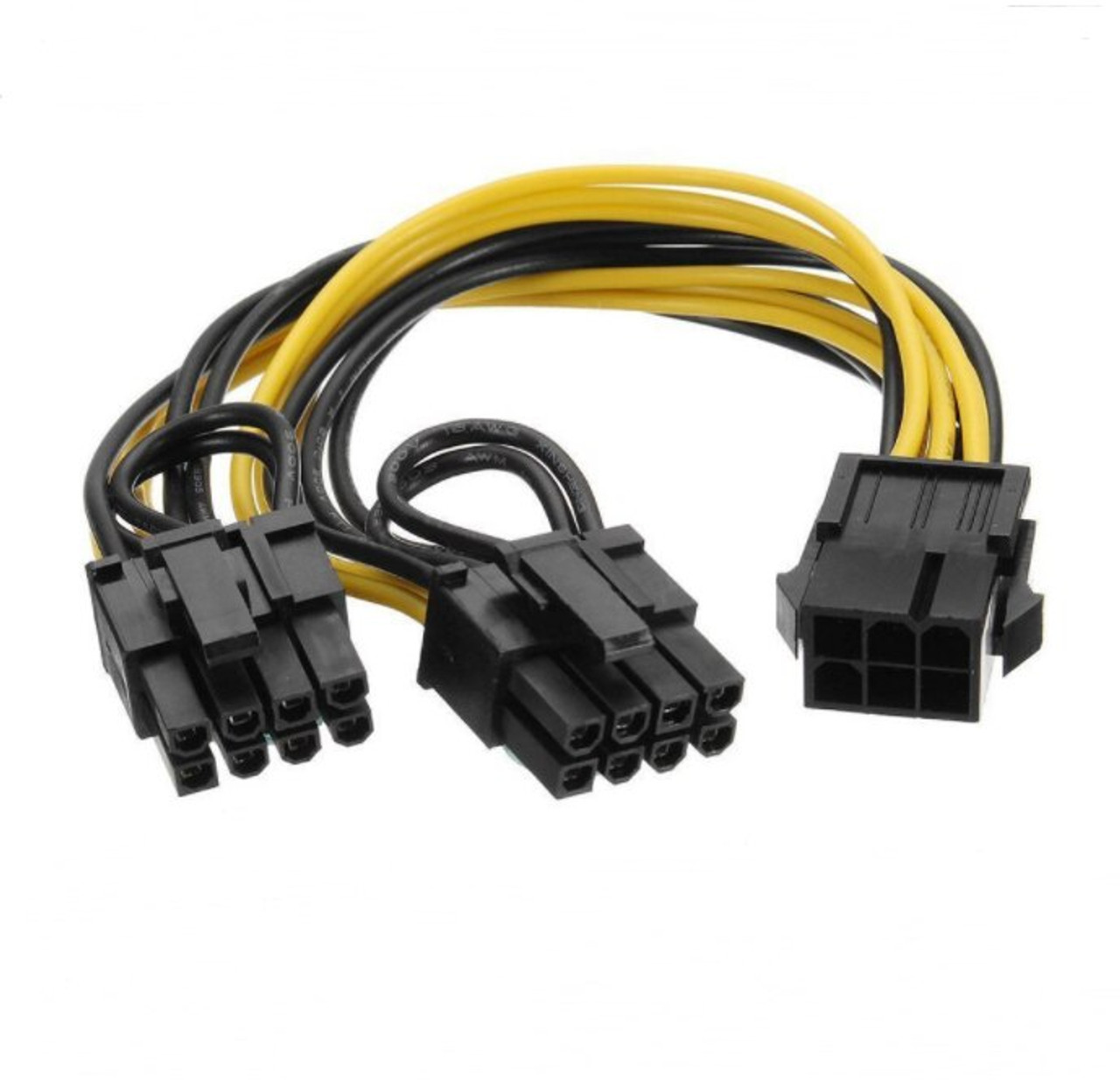 PCI-E 6-pin to 2x 6+2-pin (6-pin/8-pin) Power Splitter Cable PCIE PCI Express